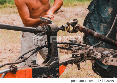 Tractor and cardan shaft for coupling equipment, tractor in the field during haymaking. 73110649