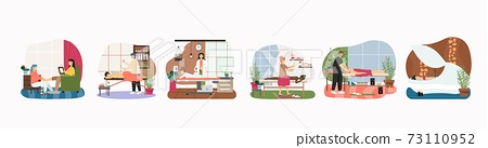 Massage therapy and relaxing spa body skincare procedures, flat vector illustration. Osteopathy, physiotherapy. 73110952