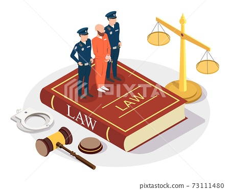 Isometric arrested offender with policeman characters standing on Law book, flat vector illustration. Law and justice. 73111480