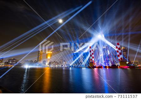 【臺灣高雄港海洋流行音樂中心夜景Kaohsiung Harbor Night View 】 73111537