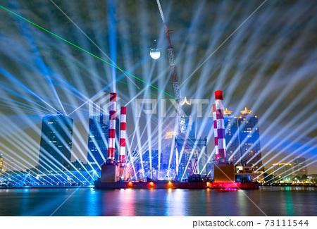 【臺灣高雄港海洋流行音樂中心夜景Kaohsiung Harbor Night View 】 73111544