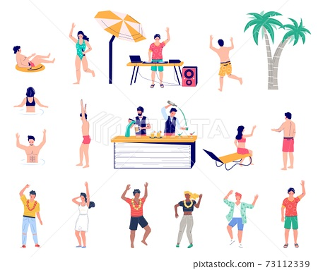 Beach party cartoon character set flat vector isolated illustration. Summer tropical vacation. 73112339