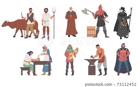 Medieval people male and female cartoon character set, flat vector isolated illustration 73112452