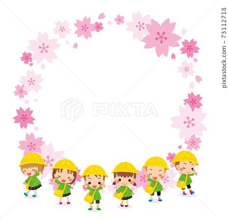 可愛的幼兒園兒童和幼兒園櫻花框架插圖幼兒6人 73112718