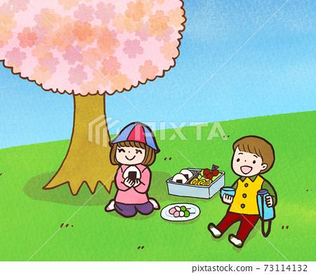 어린이의 꽃놀이 일러스트 73114132