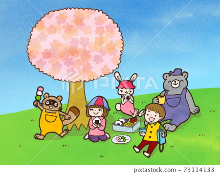어린이와 동물의 즐거운 꽃놀이 일러스트 73114133