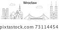 Wroclaw skyline cityscape - line art illustration 73114454
