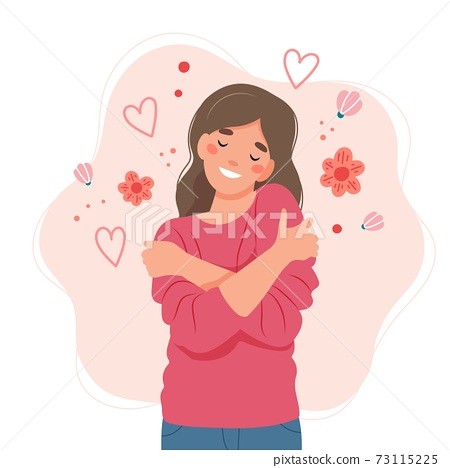 Love yourself concept, woman hugging herself, vector illustration in flat style 73115225