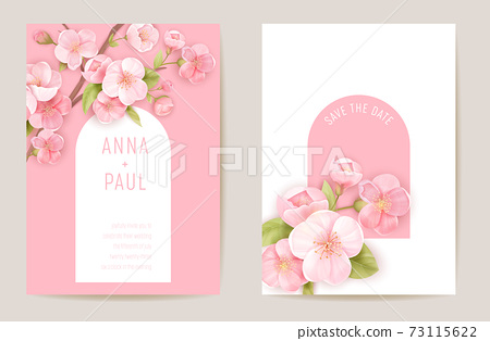 Wedding spring cherry floral invitation, sakura flowers card. Realistic minimal template vector 73115622