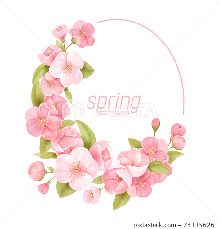 Floral wreath with realistic cherry flowers, exotic sakura blossom. Vector spring banner template illustration 73115626