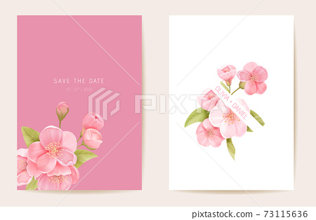 Wedding invitation sakura, cherry flowers, leaves card. Realistic floral spring template vector. Botanical Save the Date 73115636