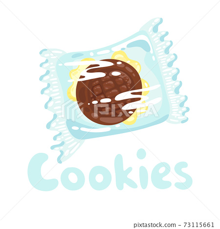 Sweet cookie stock illustration. Cookies with chocolate in plastic wrap clipart. Vector object on white background. Traditional cookies with chocolate topping for one person. Cartoon flat style. 73115661