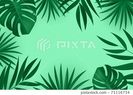 Natural Realistic Palm Leaf Tropical Background. Vector illustration EPS10 73116734