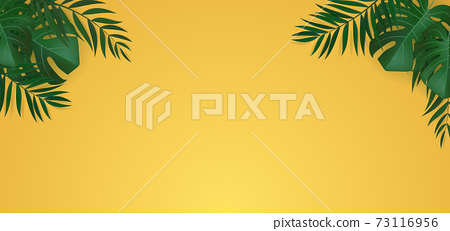 Natural Realistic Green Palm Leaf Tropical Background. Vector illustration EPS10 73116956