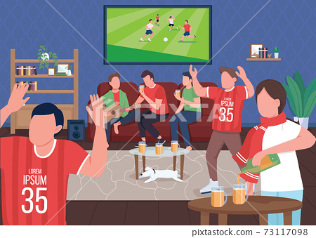 Watching football game with friends flat color vector illustration 73117098