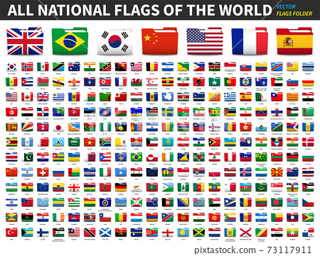 Set of all national flags of the world . Folder flag design . Element vector . 73117911