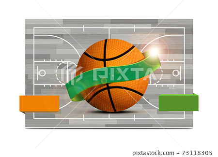 Basketball field with a basketball ball. illustration 73118305