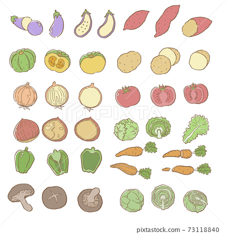 線描顏色蔬菜矢量插圖集 73118840