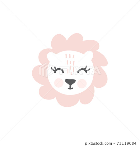 Pink Lioness hand drawn illustration vector in doodle style. Cute lioness head. Kids, baby nordic design for cards, poster, nursery wall art, clothing. Scandinavian style 73119084
