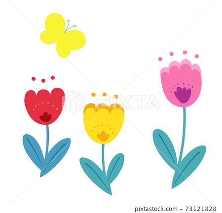 봄의 꽃 튤립과 나비 일러스트 73121828