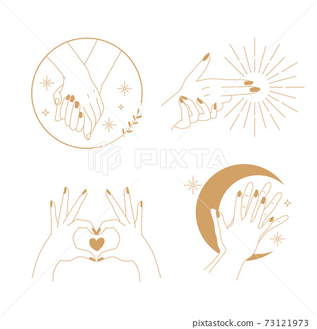 Esoteric hand logo for Valentine's day card. Romantic hand's gesture. Flat style vector decoration. 73121973