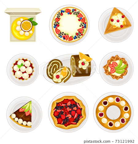 Sugary Desserts with Cheesecake and Rolled Cake Served on Plate Vector Set 73121992