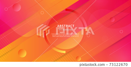 Abstract geometric background. Wave liquid with stripe lines. Background diagonal Yellow, Orange and pink gradient colors design. 73122670