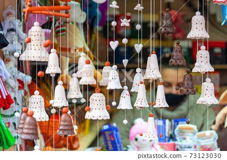 Lviv Christmas Market 2021 Decorative Toys With City Symbols Being Sold On Stock Photo 73123030 Pixta