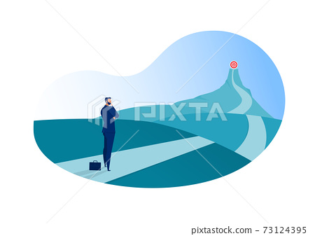 business standing on the top of the mountain adventure go to goal to red flag .illustrator 73124395
