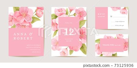 Wedding cherry invitation card, vintage sakura botanical Save the Date set. Design template of flowers and leaves 73125936