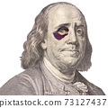 Portrait of U.S. president Benjamin Franklin with black eye 73127437