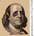 Portrait of U.S. president Benjamin Franklin with black eye 73127439