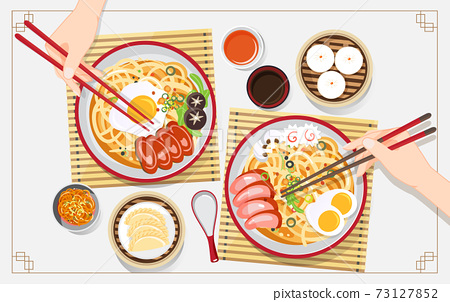 Traditional chinese soup with noodles, Noodle Soup in Chinese Bowl Asian Food Vector illustration 73127852