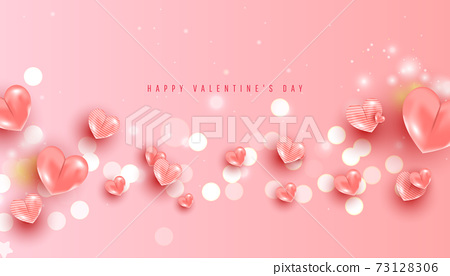 Valentine's Day sale horizontal banner. Realistic pink air heart balloons and confetti on pink background. 73128306