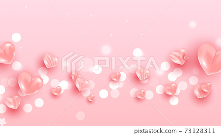 Realistic flying air heart shaped balloon elements and glitter for romantic banner design. Horizontal minimal poster, greeting card, headers for website 73128311