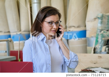Business portrait of mature woman talking on smartphone at workplace 73128715