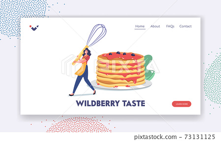 Domestic Culinary, Bakery Landing Page Template. Female Character Cooking Meal for Family, Tiny Woman in Apron and Whisk 73131125