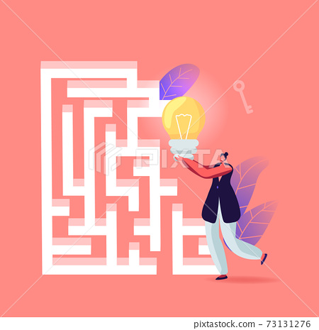 Business Woman with Huge Bulb Searching Exit in Labyrinth or Maze Finding Idea, Solution, Business Strategy, Insight 73131276