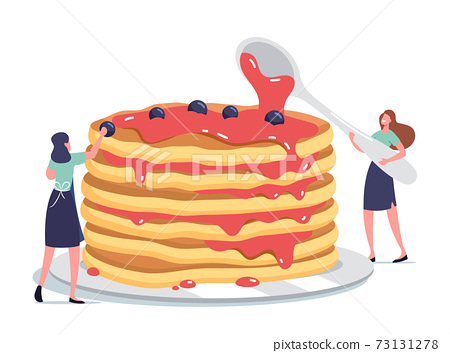 Tiny Female Characters Pouring Huge Stack of Fresh Hot Pancakes with Sweet Syrup and Decorate with Fresh Berries 73131278