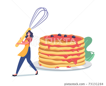 Female Character Morning Routine, Cooking Meal for Family, Tiny Woman in Apron with Whisk near Huge Pancakes Stack 73131284