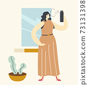 Pretty Female Character Styling Hair at Home. Young Woman in Fashioned Dress Use Hair Spray Making Hairstyle 73131398