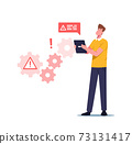 System Work Error, Website Under Construction, 404 Page Maintenance Concept. Male Worker Character Face Network Problem 73131417
