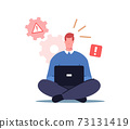 Male Character Office Worker Sit with Laptop See System Error Notification on Pc Monitor. Professional Technical Help 73131419