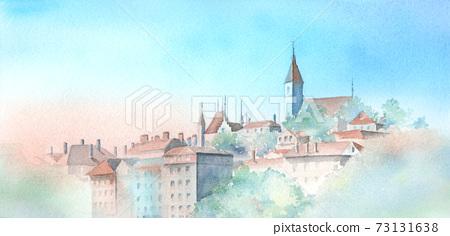 瑞士卡通城堡水彩畫 73131638