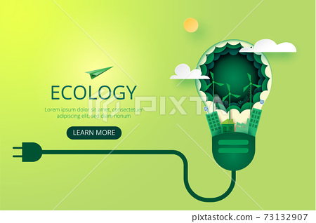 Paper art of green ecology and save energy for environment conservation concept landing page website template background.Vector illustration. 73132907