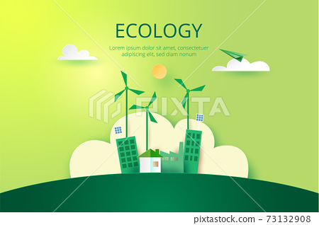 Paper art of Sustainability in green eco city, alternative energy and ecology conservation concept.Vector illustration. 73132908