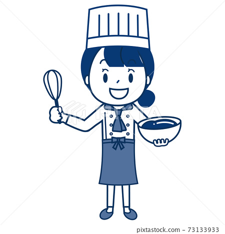 Pastry chef woman single color 73133933