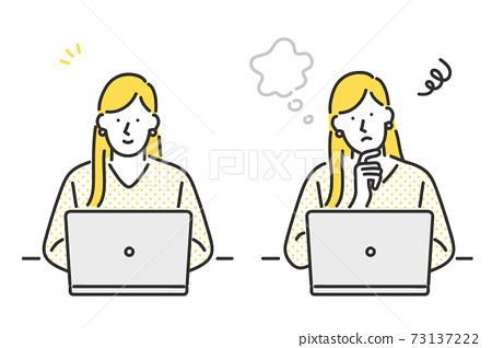女人操作個人計算機的插圖材料 73137222