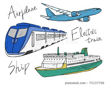 車輛和運輸的手繪插圖圖像 73137706