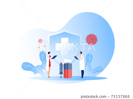Doctor reserch vaccination against Covid-19 viral infection. Healthcare concept. Vector illustration 73137868